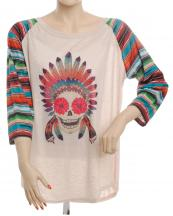 FXT228(BG)-SIZE(1XL)-wholesale-t-shirt-sugar-skull-floral-indian-headdress-feather-serape-multicolor-stripe-polyester(0).jpg