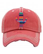 KBV1263(HPK)-wholesale-cap-cactus-serape-pattern-fabric-multicolor-stripe-vintage-torn-baseball-cotton(0).jpg