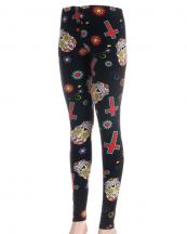 OL0017(BK)-wholesale-leggings-multi-color-lady-polyester-spandex-sugar-skull-flower-floral-cross-(0).jpg