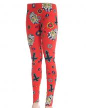 OL0017(RD)-wholesale-leggings-multi-color-lady-polyester-spandex-sugar-skull-flower-floral-cross-(0).jpg