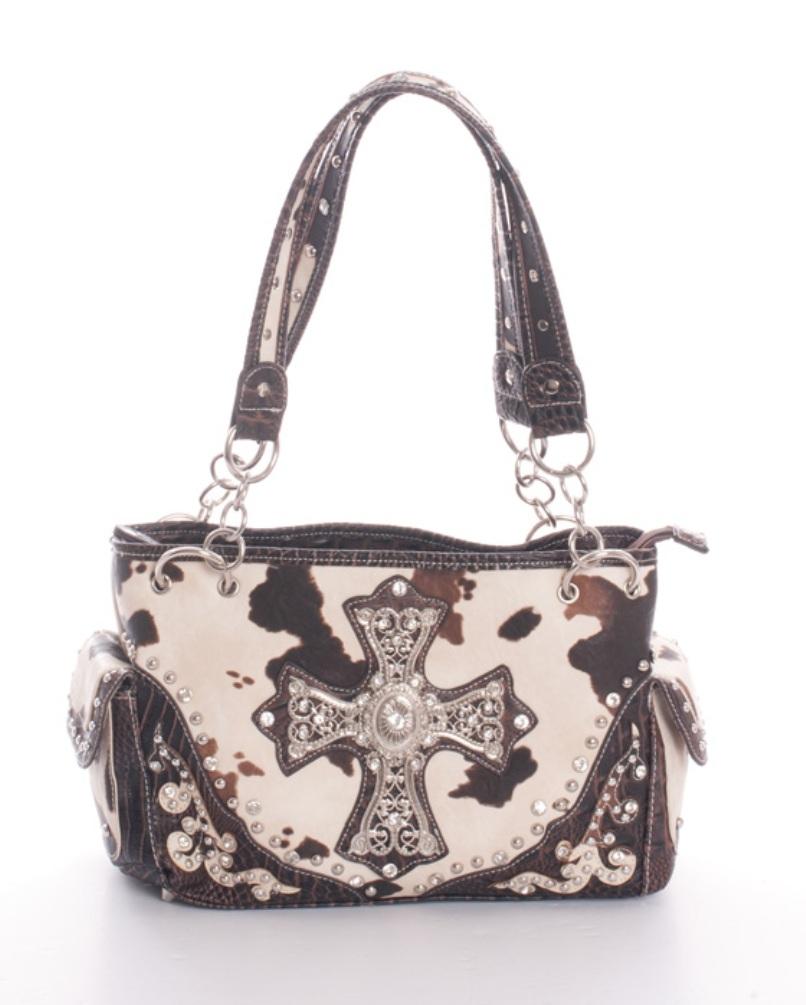 Ccw5847 Br Whole Studs Handbag Western Faux Leather