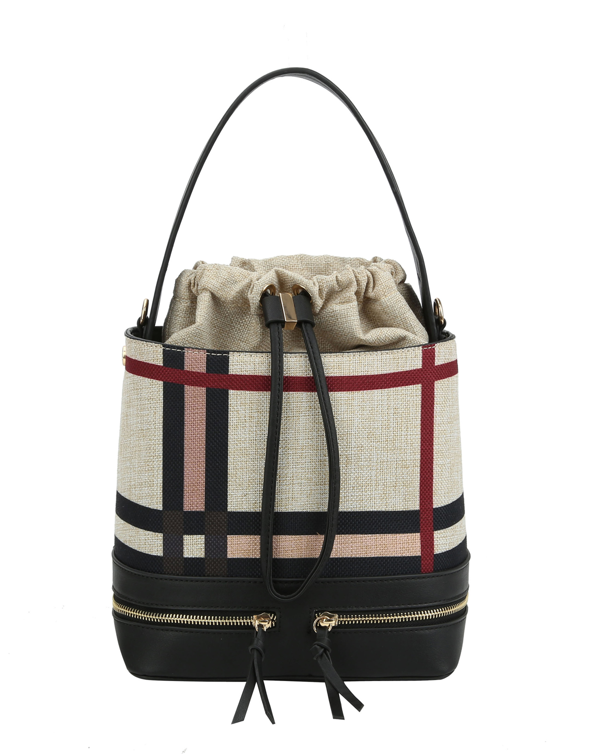 D0521(MUL1TP)-wholesale-handbag-plaid-checkered-pattern-woven-linen-vegan-leatherette-strap-zipper-drawstring-gold(0).jpg