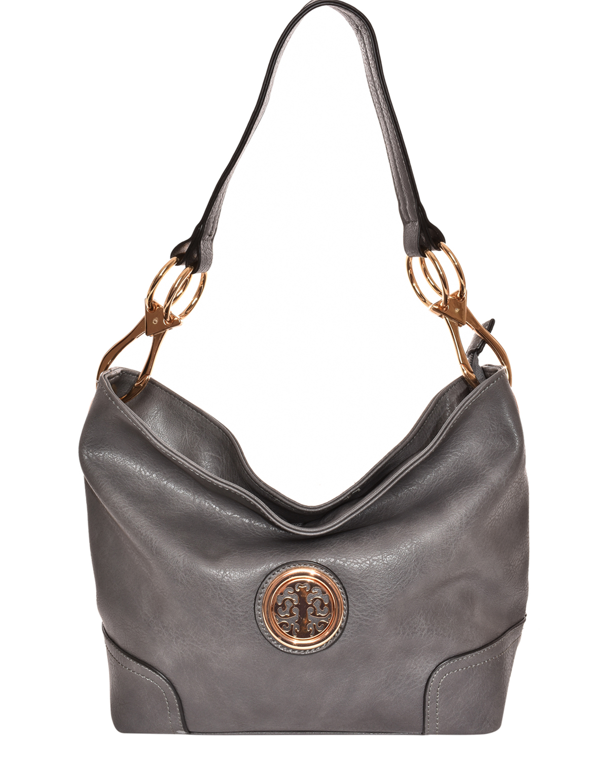 HB3134M(GY)-wholesale-handbag-faux-leatherette-hobo-gold-metal-emblem-link-lobster-claw-clasp-solid-fashion(0).jpg