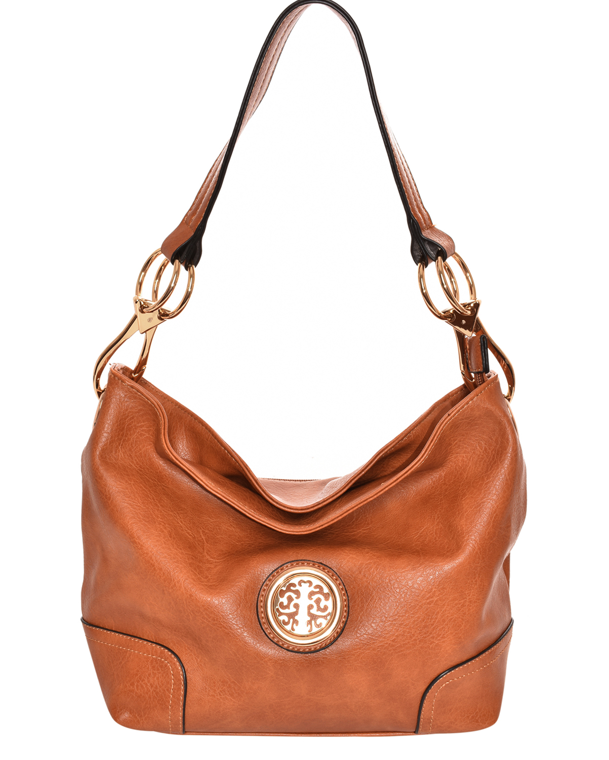 HB3134M(TAN)-wholesale-handbag-faux-leatherette-hobo-gold-metal-emblem-link-lobster-claw-clasp-solid-fashion(0).jpg