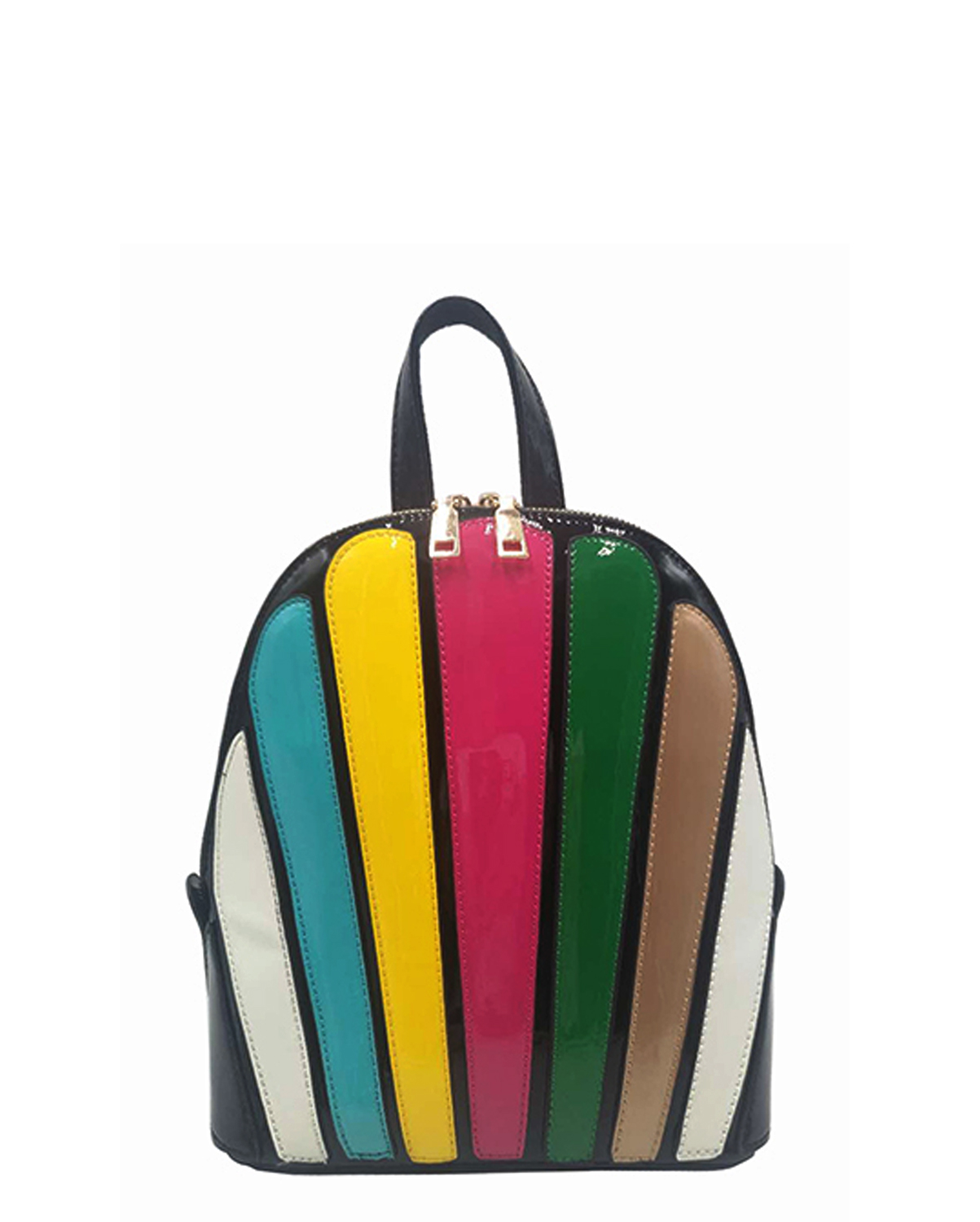 JP123(BKMUL)-wholesale-backpack-patent-faux-leather-multi-color-shell-shape-gold-canvas-strap-leatherette-shiny(0).jpg