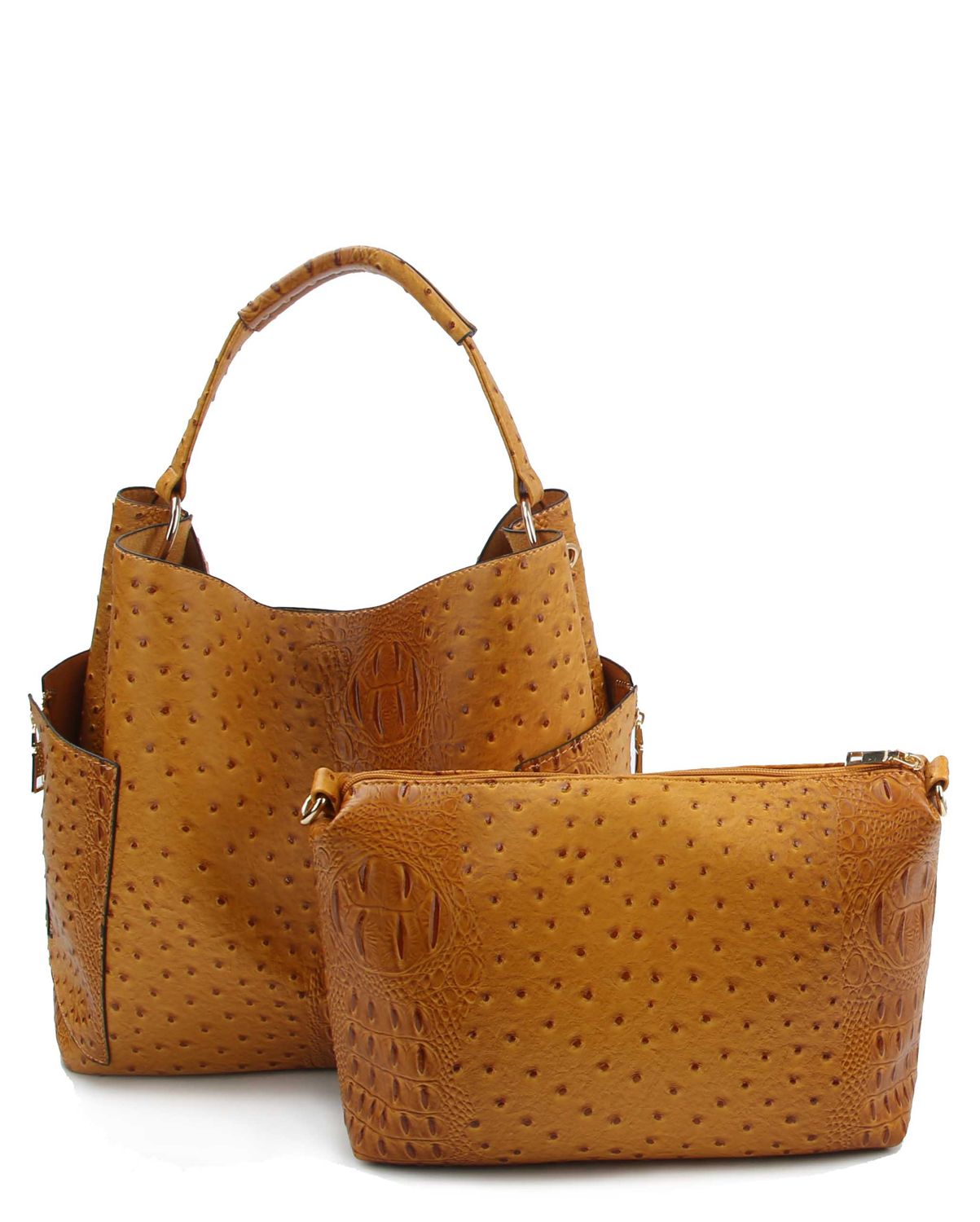 LB105O(MU)-(SET-2PCS)-wholesale-handbag-pouch-bag-2pc-set-alligator-ostrich-animal-faux-vegan-leather-pocket-zipper-solid-(0).jpg