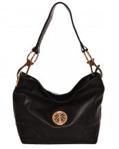 HB3134M(BK)-wholesale-handbag-faux-leatherette-hobo-gold-metal-emblem-link-lobster-claw-clasp-solid-fashion(0).jpg