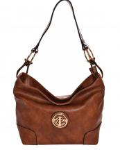 HB3134M(BR)-wholesale-handbag-faux-leatherette-hobo-gold-metal-emblem-link-lobster-claw-clasp-solid-fashion(0).jpg