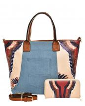 JY0223W(BG)-(SET-2PCS)-wholesale-handbag-wallet-2pc-set-tribal-southwestern-ethnic-pattern-denim-pocket-jeans-vegan-leather(0).jpg