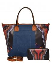 JY0223W(BK)-(SET-2PCS)-wholesale-handbag-wallet-2pc-set-tribal-southwestern-ethnic-pattern-denim-pocket-jeans-vegan-leather(0).jpg
