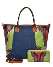 JY0223W(GN)-(SET-2PCS)-wholesale-handbag-wallet-2pc-set-tribal-southwestern-ethnic-pattern-denim-pocket-jeans-vegan-leather(0).jpg