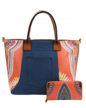 JY0223W(OR)-(SET-2PCS)-wholesale-handbag-wallet-2pc-set-tribal-southwestern-ethnic-pattern-denim-pocket-jeans-vegan-leather(0).jpg