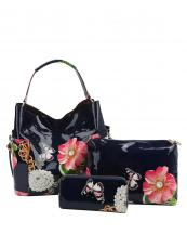 LHU2042W(NV)-(SET-3PCS)-wholesale-handbag-pouch-bag-wallet-floral-butterfly-zipper-patent-vegan-pearl-graphic-rhinestone(0).jpg