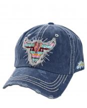 T13WIL03(NV)-wholesale-baseball-cap-longhorn-serape-arrow-leaf-stripe-multi-color-cotton-vintage-torn-embroidered(0).jpg