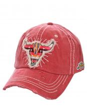 T13WIL03(RD)-W05-wholesale-baseball-cap-longhorn-serape-arrow-leaf-stripe-multi-color-cotton-vintage-torn-embroidered(0).jpg