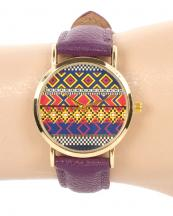 13121(PP)-wholesale-metal-watch-stainless-gold-bezel-genuine-leather-strap-aztec-southwestern(0).jpg