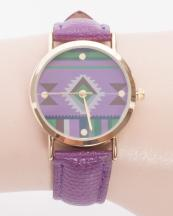 13279(PUP)-wholesale-metal-watch-stainless-gold-bezel-genuine-leather-strap-aztec-southwestern(0).jpg