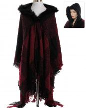 AO671(BUR)-wholesale-wrap-shawl-checkered-plaid-faux-fur-trimmed-hood-two-tone-knitted-woven-fringe-one-size(0).jpg
