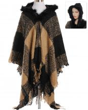 AO671(CA)-wholesale-wrap-shawl-checkered-plaid-faux-fur-trimmed-hood-two-tone-knitted-woven-fringe-one-size(0).jpg