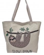 AO819(BG)-wholesale-handbag-tote-beach-bag-graphic-print-cotton-canvas-slow-down-sloth-hang-unside-smile(0).jpg