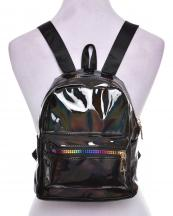AO853(BK)-wholesale-backpack-solid-color-patent-faux-leatherette-black-nylon-strap-rainbow-zipper-gold-pocket(0).jpg