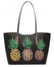 APPF25441A(BK)-wholesale-handbag-tote-pineapple-aztec-serape-gradient-gold-shiny-leatherette-handle-leaf-graphic(0).jpg
