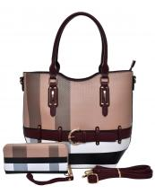 BL1003S(BRBUR)-(SET-2PCS)-wholesale-handbag-wallet-plaid-checkered-pattern-2pc-set-belt-buckle-strap-gold-faux-wristlet-(0).jpg
