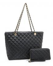 CC2870(BK)-wholesale-Leatherette-quilted-handbag-wallet-set-2pcs-gold-metal-compartment-bottom-(0).jpg