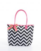 CC302(BKWHFUS)-wholesale-handbag-tote-bag-quilt-quilted-chevron-fabric-embroiderable-bow-ribbon-poket-multi-color(0).jpg