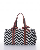 CC703(BLKWHTD)-wholesale-polyester-chevron-duffle-bag-shoulder-strap-zipper-pockets(0).jpg