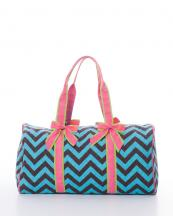 CC703(BRNTURC)-wholesale-travel-duffle-bag-chevron-zipper-quilt-quilted-fabric-embroiderable-bow-ribbon(0).jpg