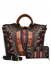 D0427W(BK)-(SET-2PCS)-wholesale-handbag-wallet-2pc-set-tribal-southwestern-ethnic-pattern-multi-color-wood-handle-vegan-(0).jpg