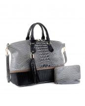 EM1331S(GYBK)-(SET-2PCS)-wholesale-handbag-wallet-alligator-ostrich-animal-pattern-vegan-leatherette-belt-handle-adjust-set(0).jpg
