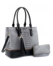 EM1357S(GYBK)-(SET-2PCS)-wholesale-handbag-wallet-alligator-ostrich-animal-pattern-vegan-leatherette-belt-handle-adjust-set(0).jpg