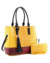 EM1357S(YLWN)-(SET-2PCS)-wholesale-handbag-wallet-alligator-ostrich-animal-pattern-vegan-leatherette-belt-handle-adjust-set(0).jpg