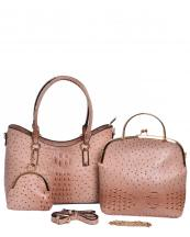 F0209(BS)-wholesale-handbag-3pc-set-coin-purse-alligator-ostrich-animal-pattern-vegan-leather-gold-metal-frame(0).jpg