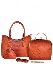 F0209(OR)-wholesale-handbag-3pc-set-coin-purse-alligator-ostrich-animal-pattern-vegan-leather-gold-metal-frame(0).jpg