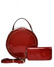 F0214(RD)-wholesale-handbag-wallet-2pc-set-patent-vegan-leather-gold-tone-studs-circle-shape-shiny-matching(0).jpg