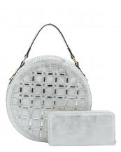 F0232W(SL)-(SET-2PCS)-wholesale-handbag-wallet-2pc-set-round-bag-rhinestones-embellished-studs-shiny-bling-circle-shape-(0).jpg