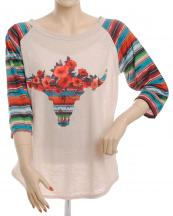 FXT226(BG)-SIZE(1XL)-wholesale-t-shirt-floral-longhorn-serape-multicolor-stripe-polyester-flower-printed-graphic-sleeve(0).jpg
