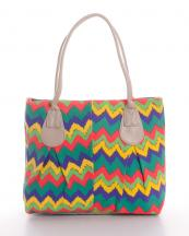 HBG100886(GN)-wholesale-tote-bag-handbag-fabric-multi-color-chevron-zigzag-zipper-embroiderable-canvas(0).jpg