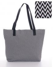 HBG101084(BK)-wholesale-tote-bag-handbag-fabric-multi-color-chevron-faux-leather-Leatherette-zipper(0).jpg