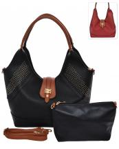 HC1661(BK)-wholesale-handbag-pouch-bag-2pc-set-gold-stud-flap-leatherette-strap-transform-wide-solid-color-faux(0).jpg