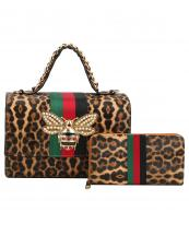 HG0064W(LEOPARD)-(SET-2PCS)-wholesale-handbag-wallet-stripe-bee-charm-green-red-pearl-rhinestone-flap-gold-metal-chain-vegan(0).jpg