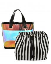 HL900(BK)-(SET-2PCS)-wholesale-handbag-pouch-bag-2pc-set-hologram-clear-transparent-faux-leather-fabric-stripe-drawstring(0).jpg