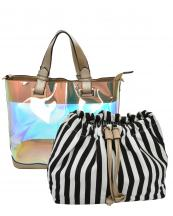 HL900(CHA)-(SET-2PCS)-wholesale-handbag-pouch-bag-2pc-set-hologram-clear-transparent-faux-leather-fabric-stripe-drawstring(0).jpg