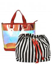 HL900(RD)-(SET-2PCS)-wholesale-handbag-pouch-bag-2pc-set-hologram-clear-transparent-faux-leather-fabric-stripe-drawstring(0).jpg