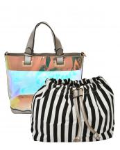 HL900(SL)-(SET-2PCS)-wholesale-handbag-pouch-bag-2pc-set-hologram-clear-transparent-faux-leather-fabric-stripe-drawstring(0).jpg