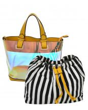 HL900(YE)-(SET-2PCS)-wholesale-handbag-pouch-bag-2pc-set-hologram-clear-transparent-faux-leather-fabric-stripe-drawstring(0).jpg