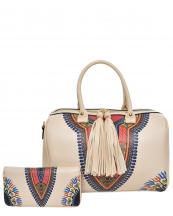 JY0222W(BG)-(SET-2PCS)-wholesale-handbag-wallet-2pc-set-multicolor-ethnic-tassel-fringe-vegan-leather-gold-tribal-pattern(0).jpg